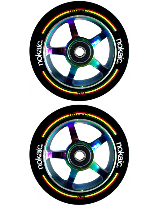 Wheels Nokaic 100mm BLACK / RAINBOW 2pcs