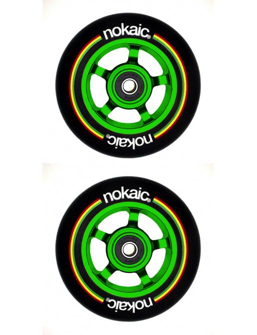Wheels Nokaic 100mm BLACK / GREEN 2pcs
